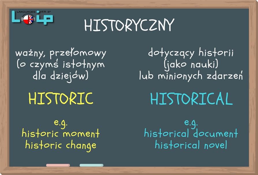 adjectives historic & historical - historyczny przymiotniki -ic i -ical angielski z Loip