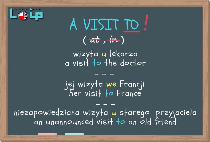 Ku przestrodze i kalki językowe (common mistakes in English) rzeczownik a visit (angielski z Loip)