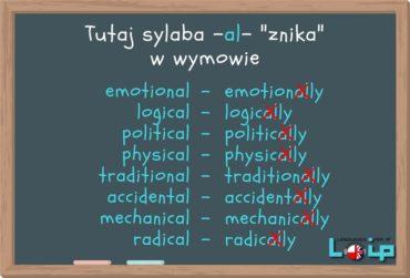 Znikająca sylaba -al- w wymowie końcówki -ally