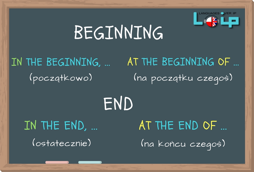 In the end czy at the end? In the beginning czy at the beginning? Sprawdż, kiedy stosujemy in, a kiedy at. Angielski z LOIP