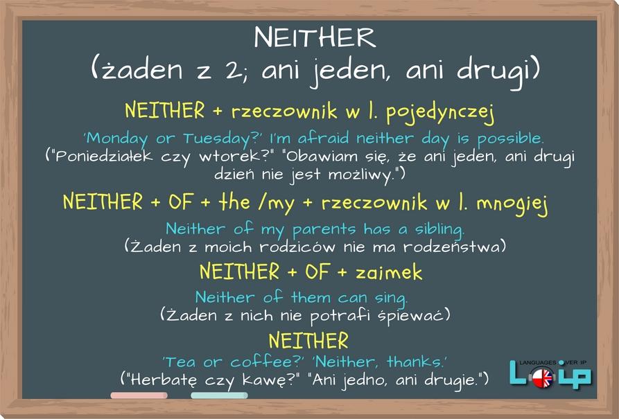 """Neither oznacza """"żaden z 2"""" lub """"ani jeden, ani drugi"""". Sprawdź, w jakich konstrukcjach występuje. Angielski z LOIP."""