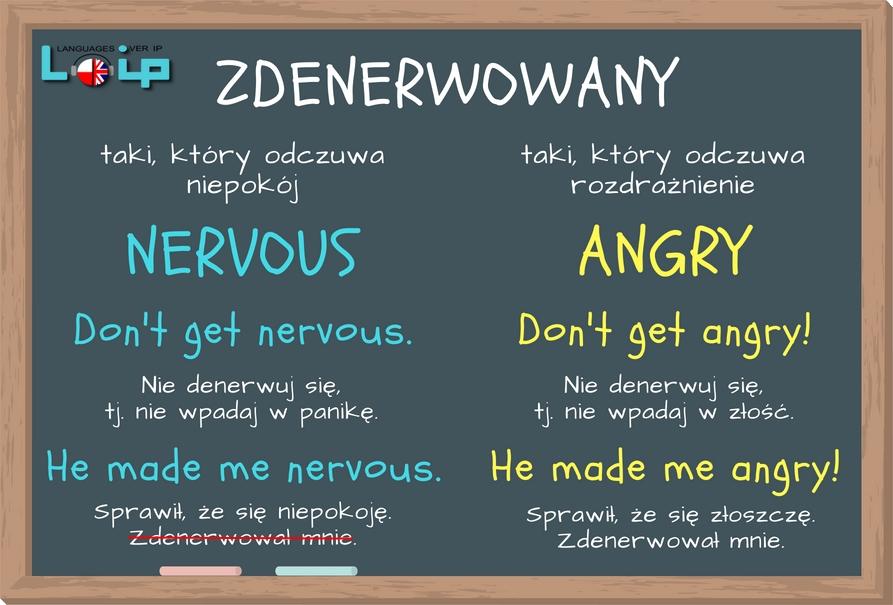 Nervous czy angry? Kiedy stosujemy który? Zdenerwowany to czasami nervous a czasami angry? Sprawdź, kiedy stosujemy który. EFL Angielski z LOIP.