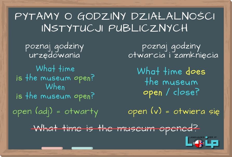 Sprawdź, czy poprawnie zadajesz pytanie o godziny otwarcia i zamknięcia instytucji publicznych. EFL Angielski z LOIP.