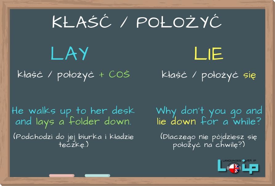 Sprawdź, czy poprawnie stosujesz czasowniki LAY i LIE. EFL Angielski z LOIP.