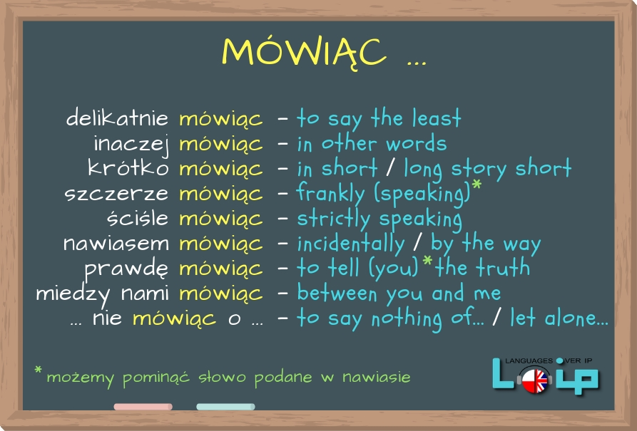 Oto kilka przykładów ze słowem MÓWIĄC. Poznaj przykłady zdań z tym imiesłowem i sprawdź, czy poprawnie stosujesz omawiane zwroty. EFL Angielski z LOIP.