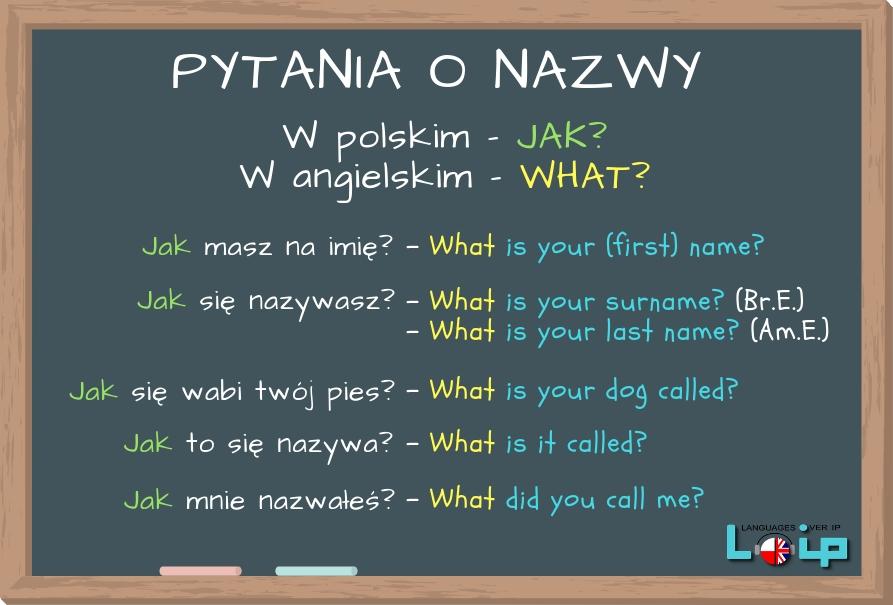 W angielskim mamy WHAT w pytaniach o nazwy, imiona itp. Sprawdź, czy poprawnie zadajesz tego typu pytania. Angielski z LOIP.