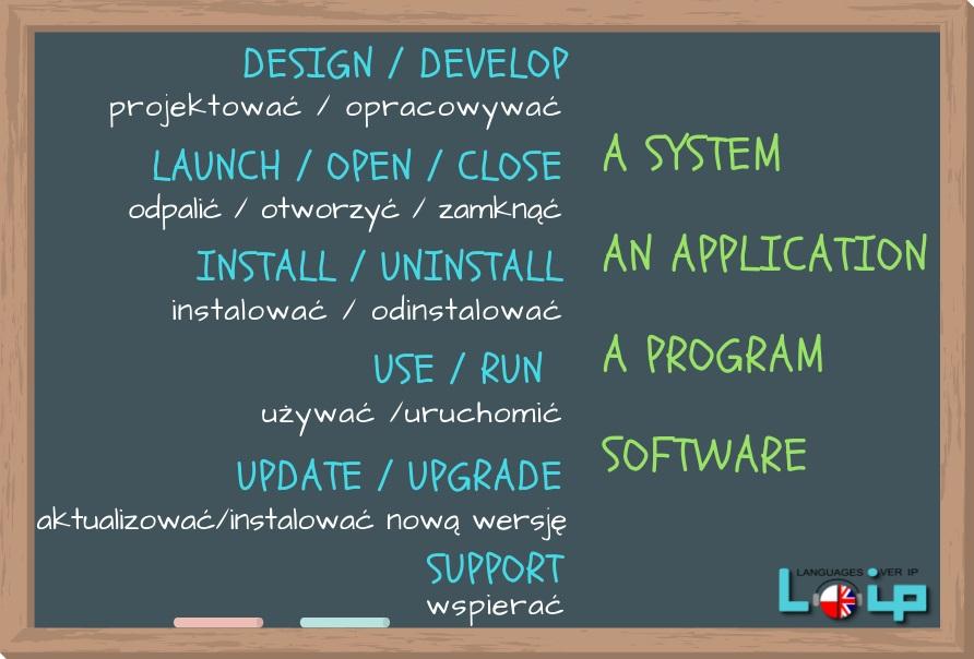 Dzisiaj kilka zwrotów z branży IT.  Czasowniki, które występują z takimi rzeczownikami jak system, aplikacja czy oprogramowanie. LOIP angielski online