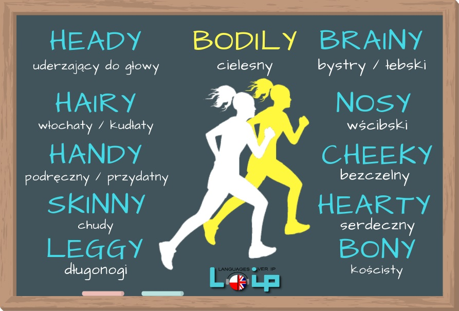 Poznaj kilka przymiotników, które pochodzą od nazw  części ciała, np.: brainy, cheeky, nosy i inne. Angielski online z LOIP.