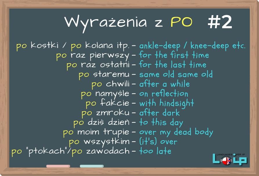 Dzisiaj przyjrzymy się angielskim odpowiednikom niektórych fraz z przyimkiem PO, np.: po zmroku, po chwili i po fakcie.