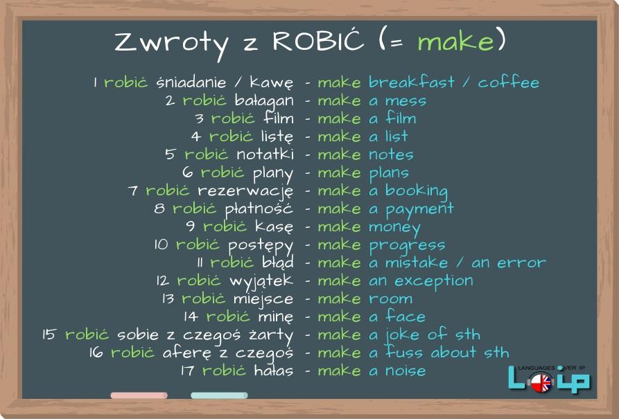 Angielskie tłumaczenia polskich zwrotów z czasownikiem ROBIĆ.  Do czy MAKE? A może jeszcze inny czasownik? LOIP Angielski online.