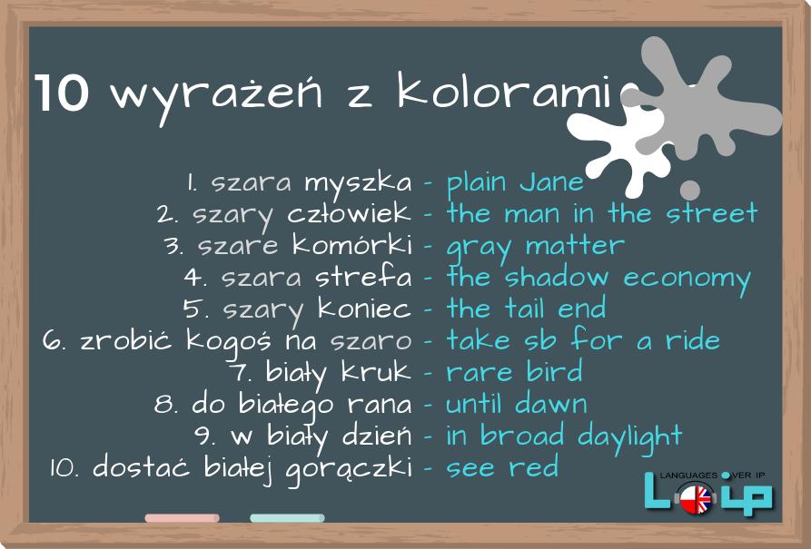 Angieslkie odpowiedniki polskich idiomów z kolorami