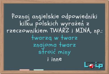 Angielskie tłumaczenia 11 polskich wyrażeń z rzeczownikami TWARZ oraz MINA