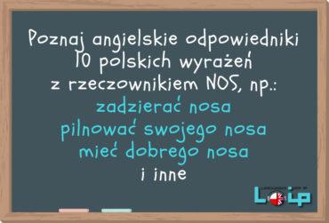 Angielskie tłumaczenia 10 polskich wyrażeń z rzeczownikiem NOS