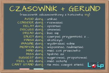 Lista czasowników łączących się z rzeczownikiem odsłownym (gerund) LOIP angielski online