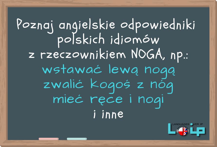 Idiomy z rzeczownikiem NOGA Angielski i polski online z LOIP